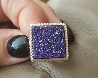 Titanium Druzy Ring-size 6.5!