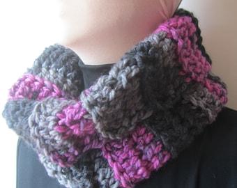 Pink/Gray/Black Chunky Crochet Cowl/Pink Crochet Cowl/Pink Chunky Crochet Cowl/Gray Crochet Cowl/Gray Chunky Crochet Cowl/Pink and Gray Cowl