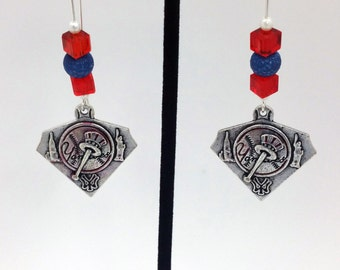 1 Pair - New York Yankees Theme Dangle Beaded Earrings Brass Ear wire Kidney Style EAR0037
