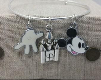 Mickey Castle Inspired Charm Bracelet Bangle Silver Tone Copper