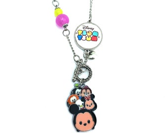 "Mickey Tsum Tsum Inspired Glass Dome Beaded Charm 30"" Chain Necklace Silver Tone"