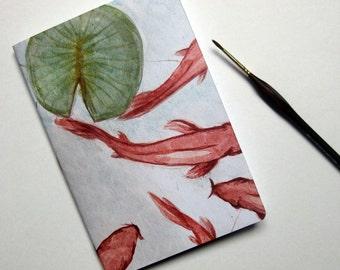 book, Japanese style illustration, watercolor, carp