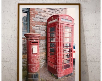 British Decor, United Kingdom, Red Post Box Photography, Red Letter Box Prints, Red Telephone Box Pictures, Looe Photography, Looe Wall Art