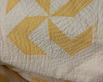 Yellow & White Antique Coverlet