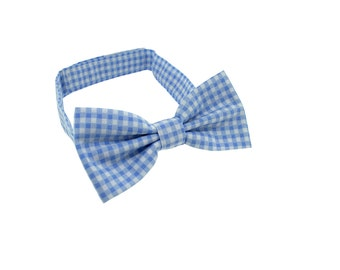 Boys Bow tie - Blue Gingham - Bow tie for boys - baby bow tie - Wedding bowtie - Boys 1st Birthday bow tie - Kids Bow Ties