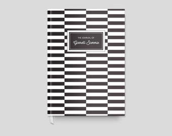 Black and White Striped Personalized Journal for Him, Sketchbook Journal Custom Diary, Personal Notebook Graduation Gift for Her