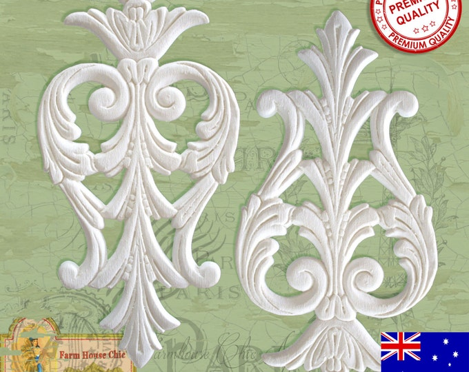 2 x Shabby French Provincial ~ Resin Furniture Applique Crest ~ Carving ~ Moulding