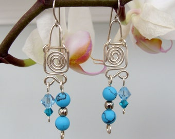 Sterling Silver, Swarovski Crystal, and Turquoise Dangle Earrings