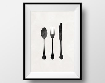 Silverware Art, Kitchen Art, Kitchen Poster, Knife Spoon Fork, Knife Poster, Fork Poster, Spoon Poster, Food Art, Food Poster, Silverware