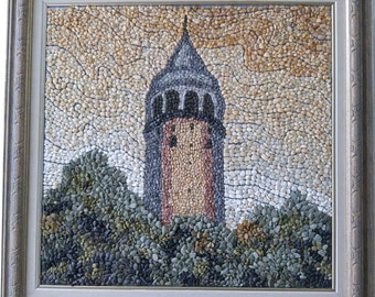 MOSAIC ART with natural stones and pebbles – Galata Tower