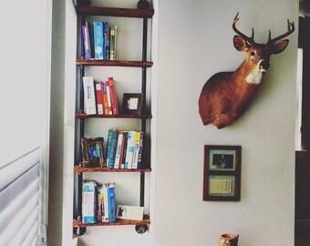 Gas Pipe Bookshelf / Industrial Bookshelf / Reclaimed Bookshelf