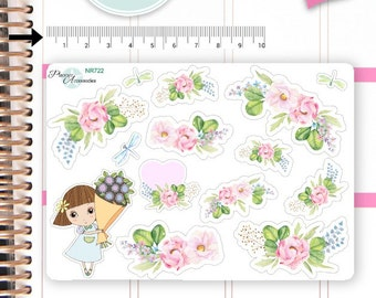 Flower Stickers Spring Stickers Girl Stickers Planner Stickers Erin Condren Functional Stickers Decorative Stickers NR722
