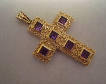 14k solid yellow gold cross with gemstones