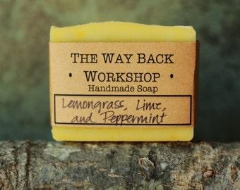 Lemongrass Lime Peppermint Handmade Cold Process Soap, Vegan
