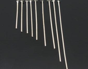 900 Assorted 21g Silver Tone Alloy Head Pins 18 - 45mm (B48F)
