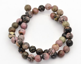 1 Strand Round Natural Rhodonite Beads 8mm (B107e8)
