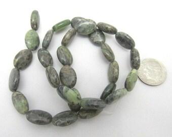 1 Strand Natural Rhyolite Flat Oval 15 x 10mm Beads (B14)