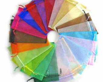 25 Assorted Color Organza Bags 8 x 10cm (B113h)