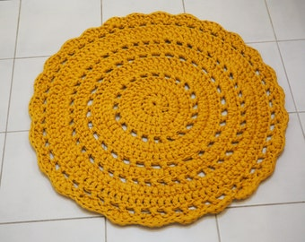 Yellow Crocheted Doily Rug/ Accent rug 70cm - ready to ship