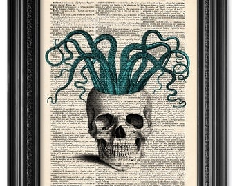 Skull print, Skull octopus, dictionary art print, Original artwork, Home Wall Art, Wall decor, Funny, Gift poster, Gift for him [ART 036]