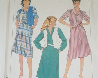 Uncut Vintage Simplicity Paper Sewing Pattern 7423 Misses' Easy-to-sew pullover shirtdress Reversible Vest Size 16 44