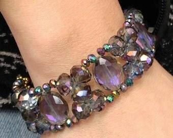 Purple Crystals Gold Tones