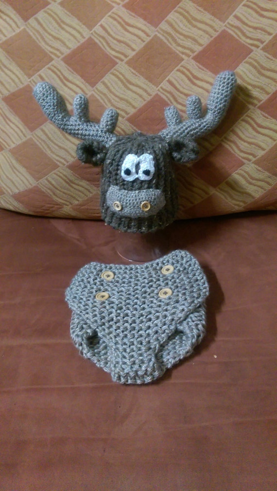 Knitting Pattern For Loose Hat : Loom Knit and Crochet Moose Hat and Diaper Cover Set