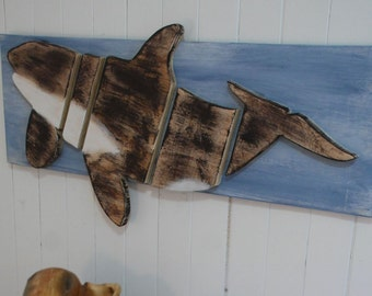 Wood on Wood Whale Wood Wall Art, Orka