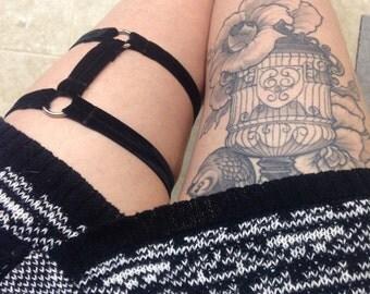 KENZIE Garter, Velvet - thigh garter - black velvet elastic