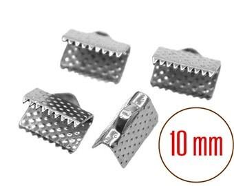 25 pcs 10mm Ribbon Clamp End Crimps Silver Tone