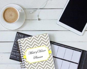 Maid of Honor Planner / Organizer - Grey and Yellow Chevron