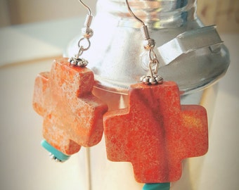 Rustic Orange/Red Earrings