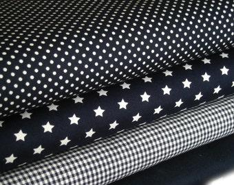 Dark blue fabric package 4 substances 50 x 145 cm
