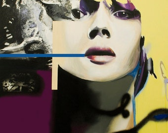 portrait, animal, Kate Moss, fashion, hand painted, spray paints, oils, large painting, graphical, face, vogue