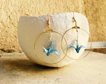 Birds origami jewel of creole blue and golden ear