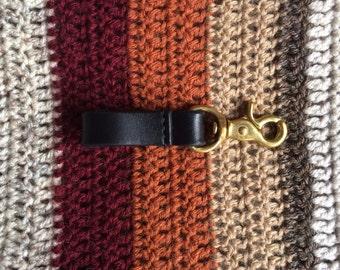 The 'Ruess' Black Veg Tan Leather Key Clip