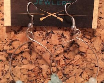 Blue wire wrapped hoop earrings