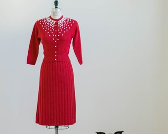 Vintage 1950s coral Red knit cardigan and skirt set with white beading
