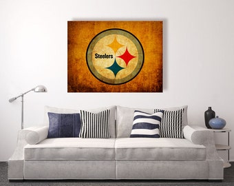 Pittsburgh Steelers vintage style Canvas Print, vintage football decor, football room decor, room decor for men, apartment decorating ideas