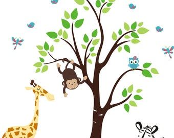 "Baby Nursery Decor, Wall Decals, Jungle Safari Animals Monkeys, Tree Nature Reusable Removable Repostionable Wall Art - Layout: 88"" x 76"""