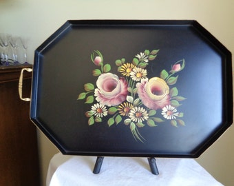 Unique Vintage Hand Painted Floral Tole Tray Raised Sides 2 Handles Nash NY Ex Condition