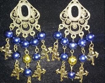 Chandelier earrings with angels