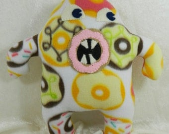 stuffed monster doll, monster plushie, plush monster, fleece monster plushie, monster doll stuffed animal, donut monster
