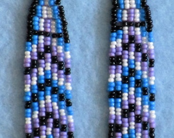 Blue,White,Purple and Black Beaded earrings