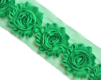 Emerald Green Shabby Flowers, Shabby Chiffon Flowers, Wholesale Flowers, Headband Supplies, DIY Flowers, Fabric Flower Applique, #S1