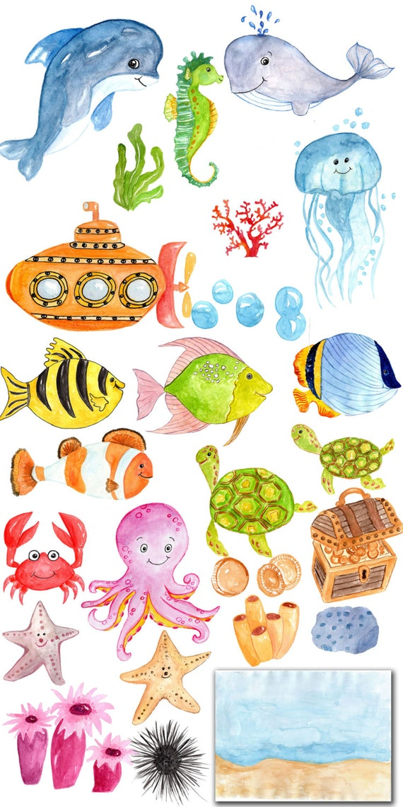 "Watercolor Sea Animals clipart: ""SEA LIFE CLIPART ..."