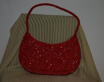 GORGEOUS Vintage red beaded evening bag/handbag