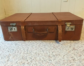 SALE!  Most Likely Leather Suitcase Luggage with Original Key Vintage