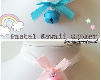 SALE Cosplay Gyaru Sweet Gothic Lolita Cute Choker Bow Necklace Pastel Bell Chokers,Kawaii Choker,Pastel Goth,Fairy kei necklace,Cute Choker