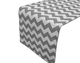 Zen Creative Designs Premium Cotton Table Top Runner Zig-Zag Chevron Charcoal Gray